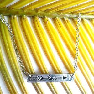 Jewelry - Love Arrow Bar Necklace Silvertone